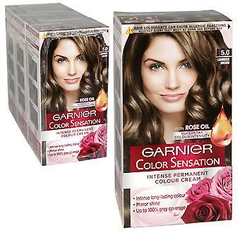 3 x Garnier Color Sensation Intense Permanent Colour Cream 5.0 Luminous Brown