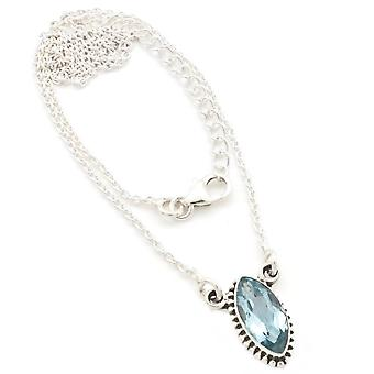 Blue Topaz Necklace 925 Silver Sterling Silver Chain Necklace (MCO 11-62)