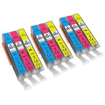 3 C/M/Y Zestaw 3 wkładów atramentowych, aby zastąpić Canon CLI-551 Kompatybilny /non-OEM z Atramentów Go (9 atramentów)