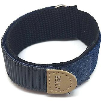 Hook and loop wrap around watch strap 18mm navy blue with stainless steel ring
