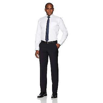 BUTTONED DOWN Men's Slim Fit Spread Collar Solid Non-Iron, White, Size 17.5