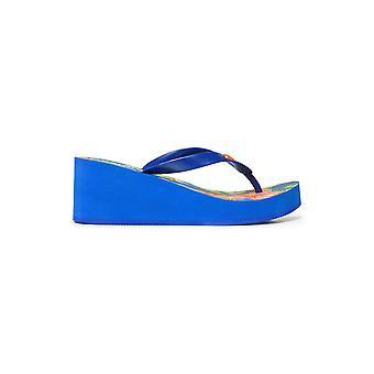 Desigual Blå Lola tropiska plattform Sandaler Flip Flops