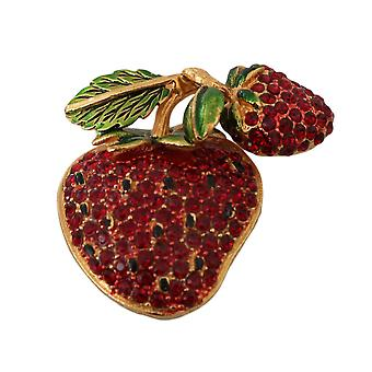 Dolce & Gabbana Gold Plated Brass Red Crystal Strawberry Pin Brooch -- SMYK771184