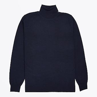 Thomas Maine  - Merino Roll-Neck Knit - Navy