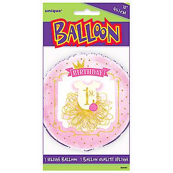 Unique Party 18 Inch Pink/Gold 1st Birthday Foil Balloon