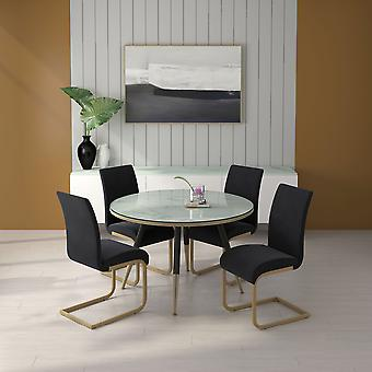 Axel/Kyle 5Pc Dining Set - White Table/Black Chair