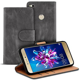 Wallet for Huawei P8 Lite (2017) Leatherette Card Compartment Magnetic Lock Microfiber Grey