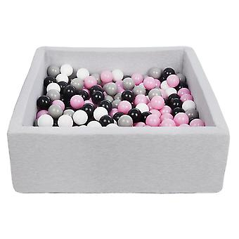 Square ball pit 90x90 cm with 200 balls black, white, light purple & grey
