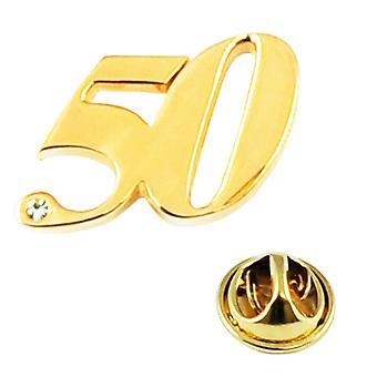 Solmiot Planeetta numero 50, 50-vuotissyntymäpäivä kultainen häät nastamerkki kristallilla - kullattu