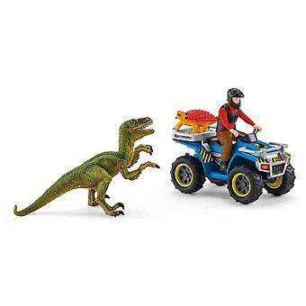 Schleich quad escape from velociraptor for children over 36 months dinosaurs