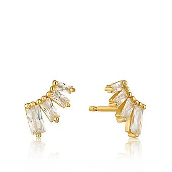 Ania Haie Sterling Silver Shiny Gold Plated Glow Bar Stud Earrings E018-04G