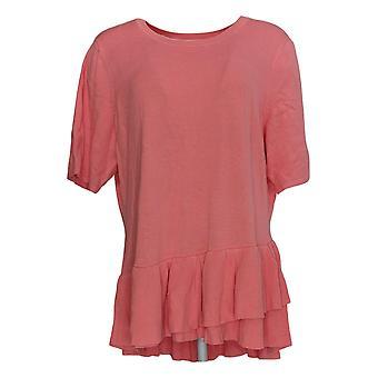 Isaac Mizrahi Live! Dames's Sweater Elbow-Slv Ruffle Peplum Pink A352389