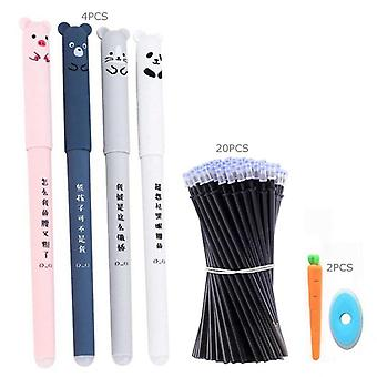 Cute Animals Erasable Pen Refill Set With Washable Handle For School Stationery