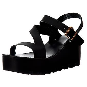 Onlineshoe Cleated Sole Summer Low Wedge Sandals