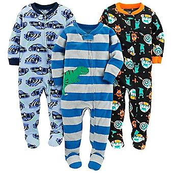 Simple Joys by Carter's Baby Boys' Toddler 3-Pack Flame Resistant Fleece Footed Pajamas, Racer Cars/Space/Dino, 4T