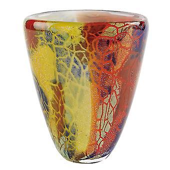"8"" Multi-Color Art Glass Oval Vase"