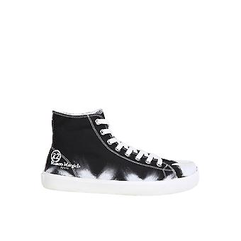 Maison Margiela S57ws0348p3719h8328 Mænd's Black Cotton Hi Top Sneakers