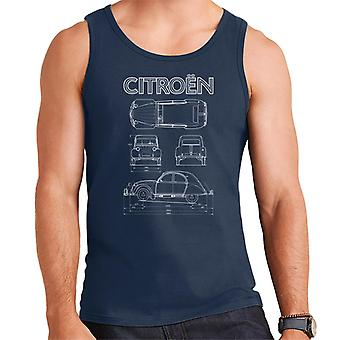 Citro�n 2CV White Diagram Views Men's Vest