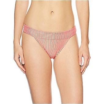 Merkki - Mae Women's Uimapuvut Castaway Banded Bikini Bottom, Punainen raita, Keskikokoinen