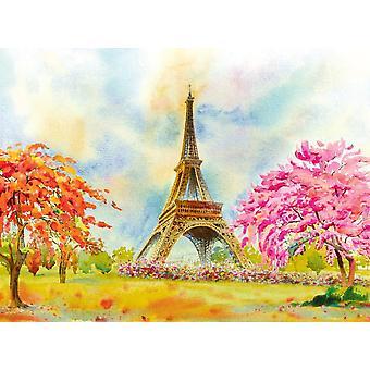 Bakgrunn Veggmaleri Eiffeltårnet Akvarell Maleri (105275774)