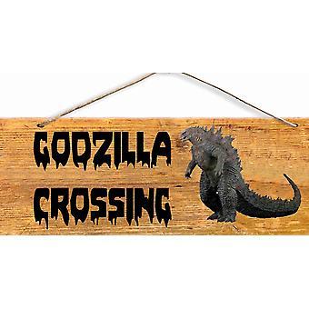 """A 6 X 12"""" Old West Wood Sign Godzilla Crossing"""