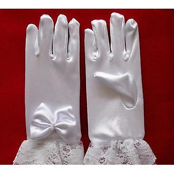 Children's White Spandex Lace Gloves