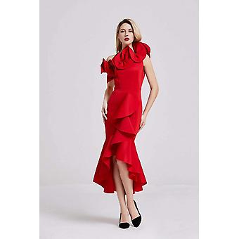 Red frilled bow detail midi dress