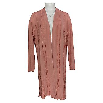 H Por Halston Mujeres's Suéter Cardigan W/ Detalle de pestañas Rosa A350389