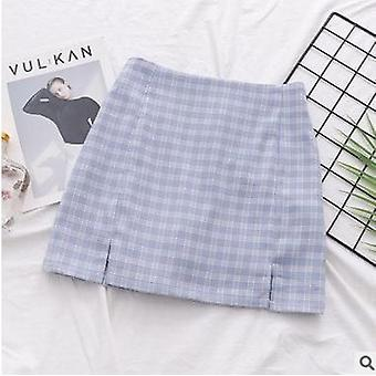Women's Clothing, Summer Tall Waist Grid Split Buttocks Short Skirt