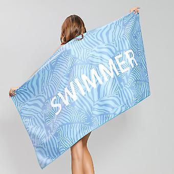 Schnelle trockene doppelseitige samt Mikrofaser gedruckt Strand Tuch, blaue Zebra-Muster, 80 * 160CM