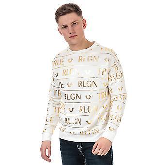 Men's True Religion All Over Print Sweatshirt in White