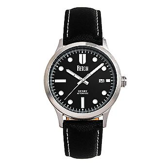 Reign Henry Automatic Canvas-Overlaid Leather-Band Watch w/Date - Black
