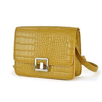KS Brands Square Lock Crocodile Cross Body Bag