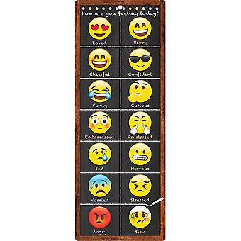 """Smart Poly Clip Chart W/Grommet, 9"""" X 24"""", Emoji Feelings"""