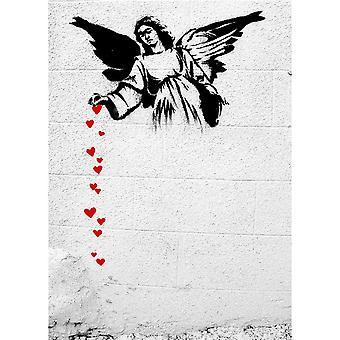 Gemälde Inspirationen Autor Bansky bunten Engel aus Holz, Baumwolle, L50xP70xA3 cm