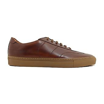 Loake Owens Chestnut Brush Painted Calf Leather Mens Lace Up Trainers