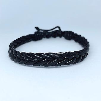 Bracelet fait main pour hommes véritables rubans tressés en cuir noir