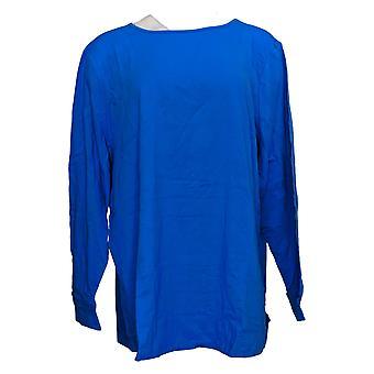 Denim & Co. Women's Top Perfect Jersey com Curved Hem Blue A389885