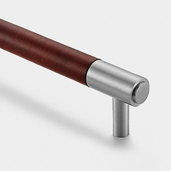 Brass Bar Handle - Silver - Hole Centre 320mm - Brown Leather