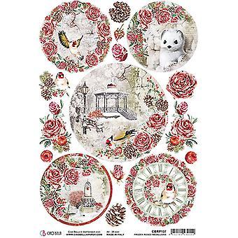 Ciao Bella Piuma Rice Paper A4 - Frozen Roses Medallions