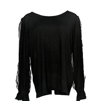 Du Jour Women's Top Scoop-Neck Knit Top w/ Manches en maille Noir A346444