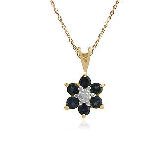 Floral Round Mystic Topaz & Diamond Cluster Pendant Necklace in 9ct Yellow Gold 181P0016519