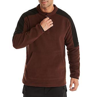 YANGFAN גברים&s כפתור למעלה סוודר שרוול ארוך בלוק צבע Pullover