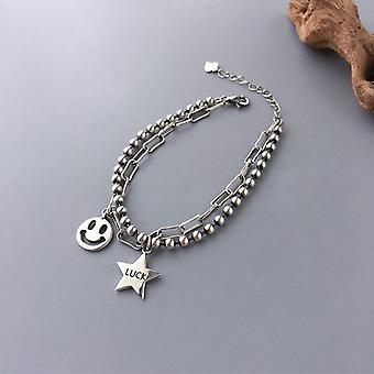 925 Sterling Silver Smiling Face Charms Bracelet