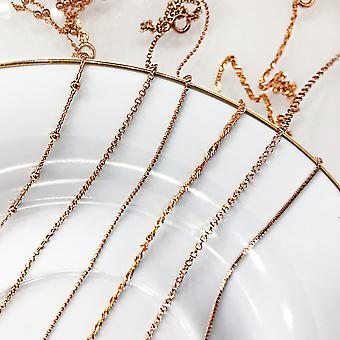 Ah! Jewellery Womens Sterling Silver Rolo Chain Finished In 18K Rose Gold Fine.