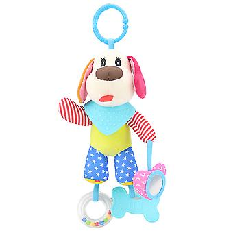 Cute Dog Rattle Toys With Bell Mirror Sound Box Teether Plush Baby Hanging Toys Colorful Rattling Doll For Infant