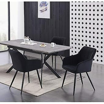 Lusso & Romeo: Table & Velvet Chairs Dining Set | Cushion Padded Chairs | Dining Room Ash/black Table | Modern Dining Table | Dining Table Set | (black)