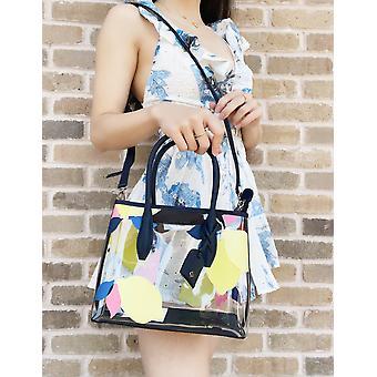Kate spade eva sitruunan kuori nähdä läpi läpinäkyvä pieni satchel laukku käsilaukku