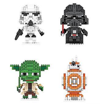 4pcs / مجموعة حرب النجوم لبنات البناء لغز مايكرو 3D الأرقام التعليمية الطوب اللعب