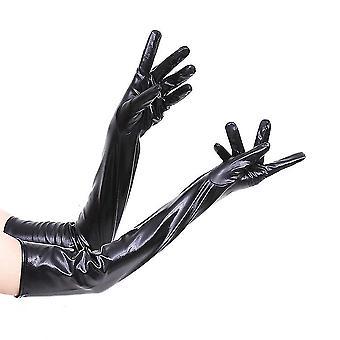 Women&Apos;s Long Gloves Esti Party Lakkbőr Elegáns kesztyű Fekete